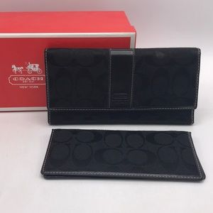 Coach Black Wallet & Checkbook Holder